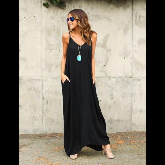 "3d86ecd7c26 ""Weekend sale""Black oversized petite maxi dress"